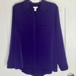 Chico's Sz 2 US 12 Large Purple Button Up Blouse
